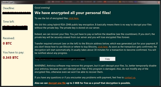 Remove Thunder Crypt Ransomware